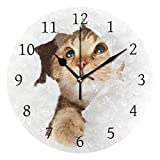 Ahomy Katze weiß Hintergrund Ziffern Wanduhr 24cm rund Uhr geräuschlos Nicht tickend batteriebetrieben leicht ablesbar für Zuhause Büro Schule