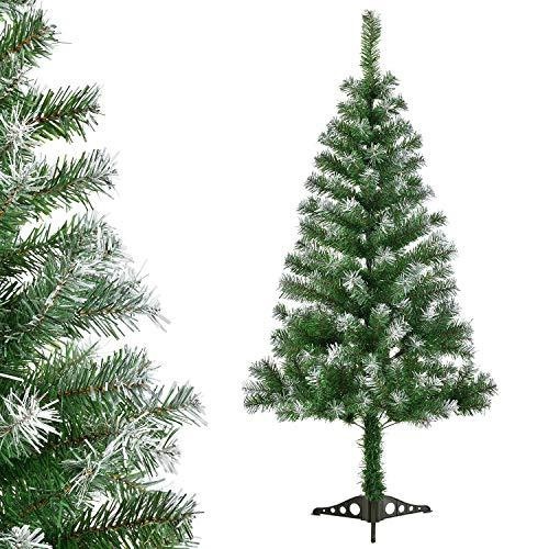 Juskys Weihnachtsbaum 150 cm künstlich mit Schnee & Ständer – Tannenbaum naturgetreu – Deko Christbaum für Innen - Weihnachtsdeko grün/weiß