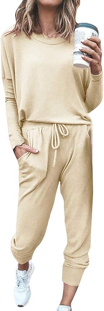 Lounge Sets for Women Solid Color Two Piece Outfit Soft Pajamas Set Sport Sets Crewneck Tops and Long Pants Sweatsuit