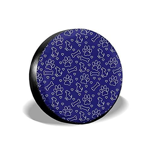 QQIAEJIA Cubierta para llanta de Repuesto Azul y Blanco Perro Cachorro Hueso Corazones azulejo repetición Protector de Llantas Universal Apto para autocaravanas Viajes remolques Impermeable