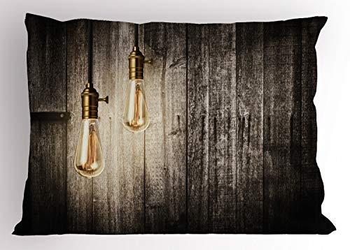 ABAKUHAUS industrieel Siersloop voor kussen, elektrische Retro, standaard maat bedrukte kussensloop, 65 x 50 cm, Pale Yellow Brown