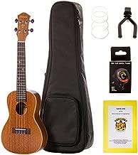 Moana Concert Mahogany Ukulele Bundle with Gig Bag, Tuner, Aquila Strings,Wall Hook, Music Book… (Ukulele with Gig Bag and Accessories)