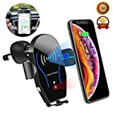 Wireless Car Charger, Fast Charge Dashboard& Air Vent Mount(Infrared-sensing), Wireless Charging Phone Mount Compatible with iPhone X/XR/XS Max/8+/Samsung Galaxy S10/S10+/S9 Plus/Note10 Pro(Qi-Enable)