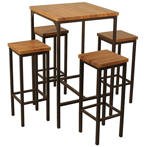 YELLOO Mod. ROMA Mesa Bar Cuadrado y 4 taburetes marrón Mesa 66 x 66 x H110 CM Sillas Meubles