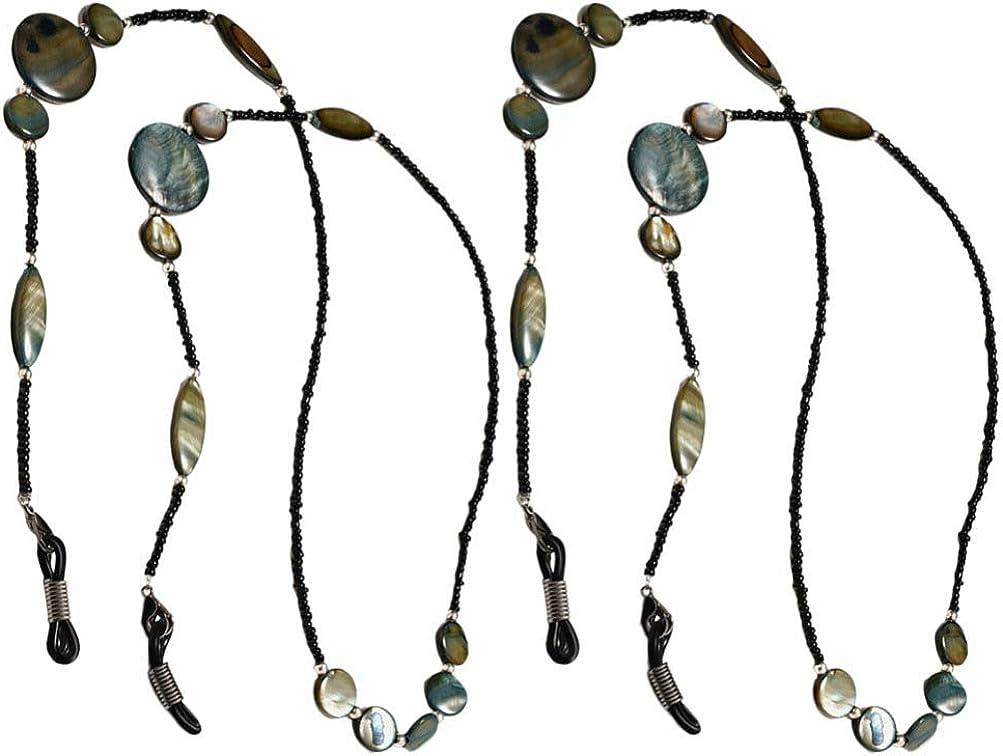 TENDYCOCO 2pcs Eyeglasses Chain Bead Chain Eyeglass Strap Eyewear Holder Sunglasses Lanyard Glasses Cord Retainer
