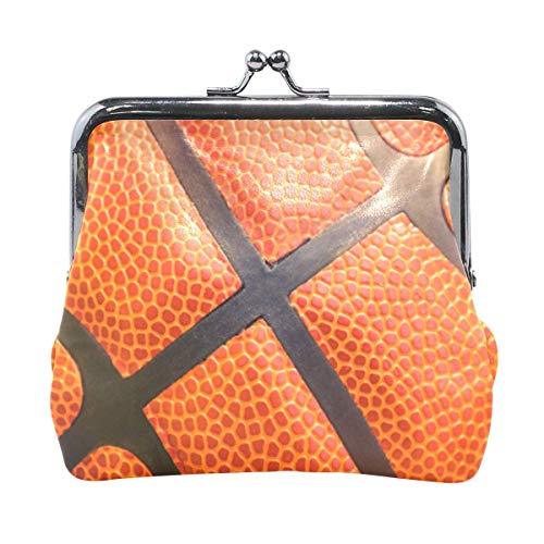 Primer plano detalle de la textura de baloncesto lindo monedero para mujeres y niñas retro bolsa de dinero con hebilla de cierre de beso, cartera pequeña para cambio de tarjeta