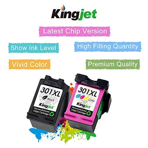 Kingjet 301XL Cartuchos de Tinta Remanufacturados para HP 301 XL Compatible con HP Deskjet 2540 1510 3050 3050A 1050A 3055A; Envy 4500 5530 5532; Officejet 4630 2620 2622