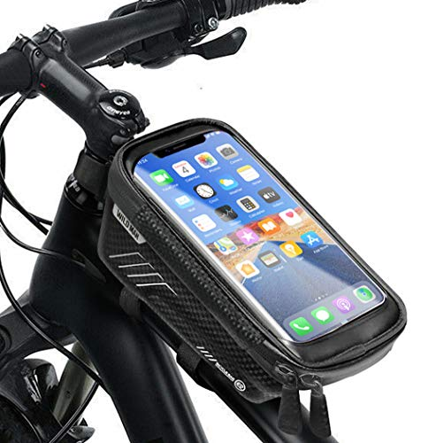 HHD Bike Phone Front Frame Bag - Waterproof Bicycle Top Tube Cycling Phone Mount Pack with Sensitive Touch Screen Large Capacity Phone Case for Cellphone Below 6.5'' iPhone 7 8 Plus xs max