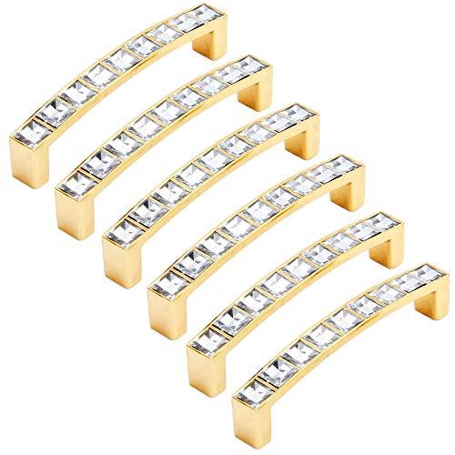 FBSHOP(TM) - 6 pomos de Cristal para cajón y Puerta, Tiradores de Diamante con Base de aleación de Zinc para el hogar, Cocina, Oficina, Armario, cajón, Color Dorado