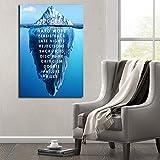 wojinbao Sin Marco Cartel de Paisaje Natural de Iceberg y decoración Moderna del Cartel de la Sala de Estar gráfica de Lienzo de Pared