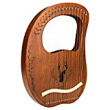 Lyre Harp Instruments LINGSFIRE Harp Guitar 19 Metal String Lye Harp Mahogany Body Ancient Greece Style Lyre Instrument Kit With Carrying Bag, Tuning Wrench, Extra String Set & Picks