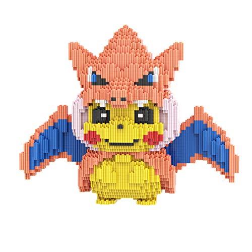 Juego de bloques de construcción Pikachu Bloques de construcción en miniatura Partículas pequeñas Ensamblar colección de juguetes para niños adultos Adornos de bricolaje Decoraciones para el hogar B