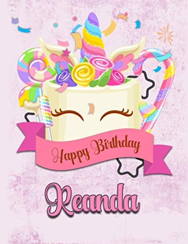 Happy Birthday Reanda: Personalized Dabbing Unicorn Sketchbook & Notebook with pink name | Best Birthday Gift for Reanda |8.5x11 Size & 100 Sketchbook pages + 50 Wide Ruled Composition Notebook pages