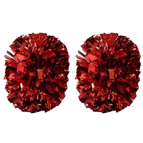 Cheerleading Poms, Cheerleading Pompons poms Metallisch Blume Ball Folie Kunststoff Ringe Pom Poms für Tanzparty Schule Sport Wettbewerb(Rot)
