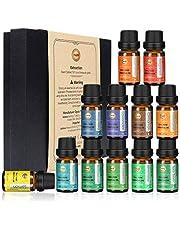 ANEAR Essential Oils Set, 12 x 10 mL Aromatherapy Oils Set, Tea Tree, Lemongrass, Pure Lavender, Eucalyptus, Sweet Orange, Lemon, Peppermint, Bergamot, Frankincense, Rosemary, Cinnamon and Ylang-Ylang