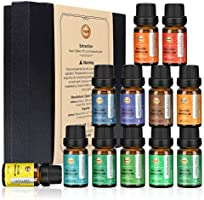 ANEAR Essential Oils Set, 12 x 10 mL Aromatherapy Oils Set, Tea Tree, Lemongrass, Pure Lavender, Eucalyptus, Sweet...