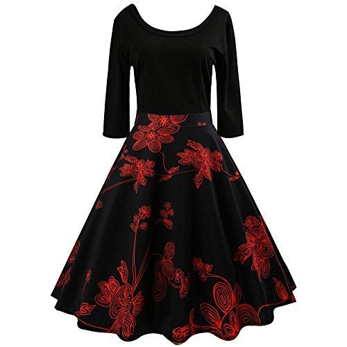 IZHH Halloween Ballkleider Partykleider Schwarzes Kleid Abendkleider Partykleider SchöNe Kleider Elegante Kleider Festliche Kleider(T-Schwarz3,XX-Large)