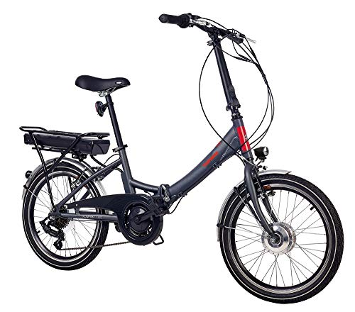 Telefunken E-Bike Klapprad Elektrofahrrad Alu, grau, 7 Gang Shimano Kettenschaltung - Pedelec Faltrad leicht, 250W und 10,4 Ah/36V Lithium-Ionen-Akku, LCD-Display, Reifengröße: 20 Zoll, Kompakt F800
