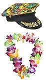 Sailor Mütze Hawaiian Look + mehrfarbig Blume Lei Blumenkette Fancy Kleid Hula Set Captain Boot Party Hawaii -