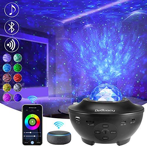 Delicacy Smart WiFi Stella Proiettore, Bluetooth Onde Oceaniche Proiettore Nebulosa Luci Notturne, LED Rotante Nebula Lampada con Timer e Telecomando, per Bambini Adulti Regalo Decorazioni