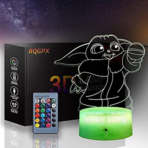 Lámpara de noche LED 3D de Star Wars, lámpara de ilusión Yoda Baby 16 colores de control táctil con USB para decoración del hogar, regalo de cumpleaños de Navidad