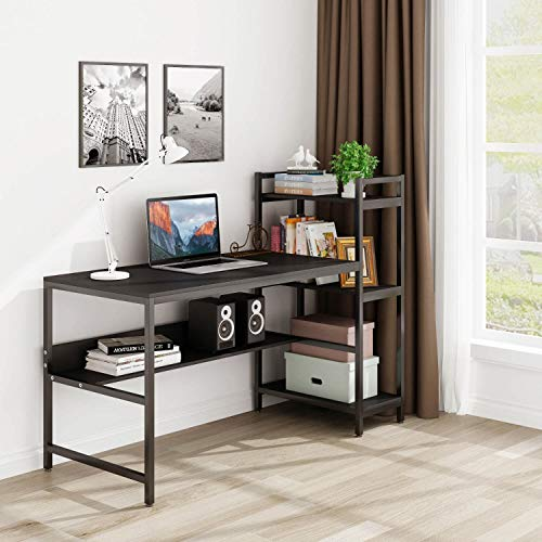 Tower Computer Desk with 4 Storage Shelves