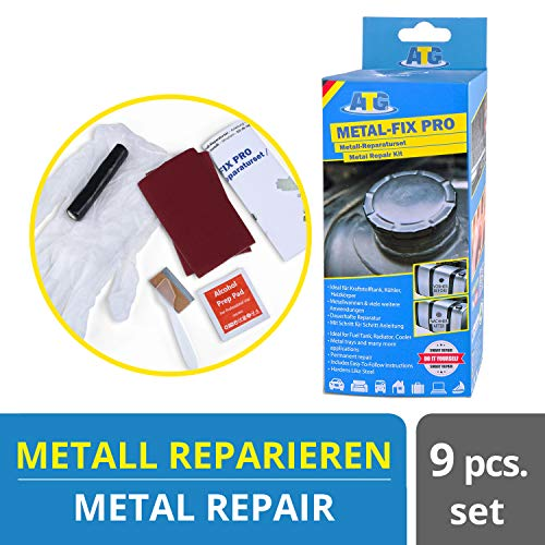 ATG – Tank-Reparatur Set – Knetmasse zum Tank abdichten - Heizkörper Autokühler Radiator Reparaturset – 9 teilig