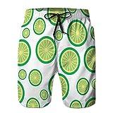 LJKHas232 Shorts de Playa para Hombre Tronco de baño de Secado rápido limón Tropical y Frutas exóticas pa M