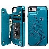 iPhone 8 ケース iPhone 7 ウォレットケース 押し花型 バタフライ レザー スマホケース 多機能カード収納 スタンド 機能ケース 人気 おしゃれ 耐汚れ 衝撃吸収 スマートフォン全面保護カバー ブルー
