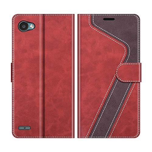 MOBESV Handyhülle für LG Q6 Hülle Leder, LG Q6 Klapphülle Handytasche Hülle für LG Q6 Handy Hüllen, Rot