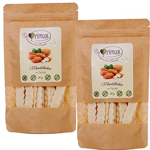Primus Handgemachte Mandel-Kekse, 2x 80 g Doppelpack, knusprig-leckere Kekse ohne Zusatzstoffe, zuckerfrei, glutenfrei und vegan