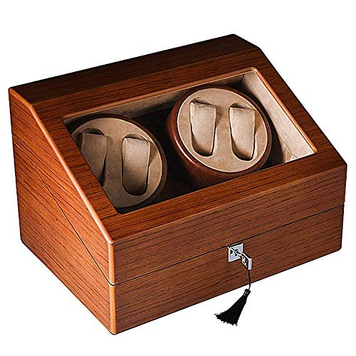 CARLAMPCR Watch Winder/Automatic Watch Winder, 4+6 Winder Positions, 5 Rotation Modes, Wooden Watch Winder Watch Box/For Any Watch
