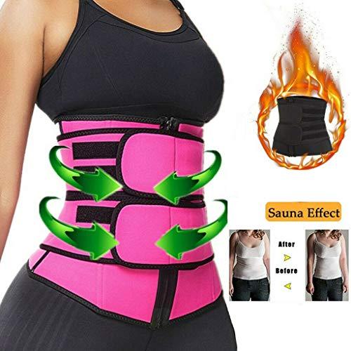 Unbekannt Adjustable Waist Slimming Trimmer,Women's Waist Trainer Belt, Back Brace for Lower Back Pain WAIS (Pink, M)