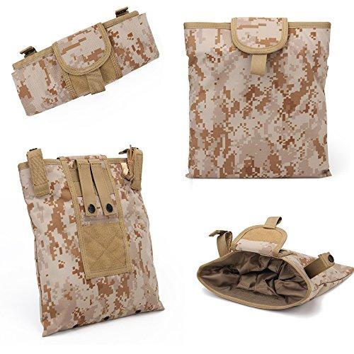 Warrior Quest 1000D Nylon Folding Tactical Dump Pouch – Foldable Molle Magazine Mag Dump Pouch (AOR1 Camo)