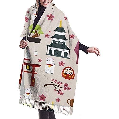 Elaine-Shop Japón Cultura Arquitectura Edificios Cómodo chal bufanda cachemir bufanda de invierno para mujeres hombres