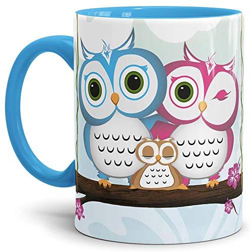 Eulen Tasse Comic - Kaffeetasse/Mug/Cup Innen und Henkel Blau - Qualität Made in Germany