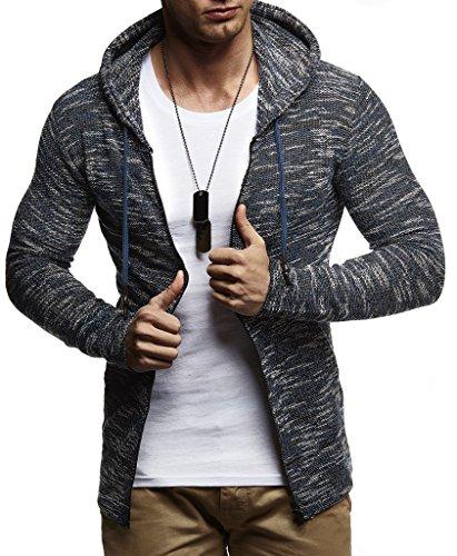 Leif Nelson heren sweatjas met capuchon slim fit katoenaandeel modern hoodie-cardigan lange mouwen mannen zwart vrijetijds-capuchon jas voor de winter zomer LN8115