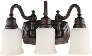 Feiss VS8003-ORB Canterbury Glass Wall Vanity Bath Lighting, Bronze, 3-Light (18.5