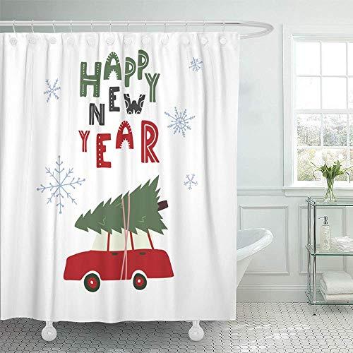 Dekorativt duschdraperi grön topp gott nytt år bil julgran tak röd köp vattentäta mögelbeständiga badrum duschgardiner set med krokar