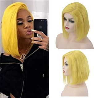 TD-HAIR Side Part Bob Wigs Human Hair 13x6 Lace Front Deep Part Wig for Women 180% Density Glueless Straight Short Bob with Baby Hair Pre Plucked Hairline (8 inch, Yellow)