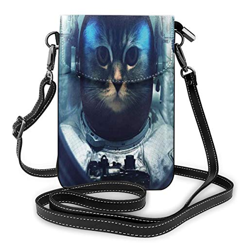 Jiger Women Small Cell Phone Purse Crossbody,Kitty In Space Suit Loking From Rocket In Galactic Space Orbit Artwork
