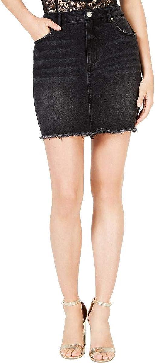 Material Girl Womens Juniors Denim Frayed Hem Denim Skirt