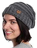 Slouchy Cable Knit Beanie for Women - Warm & Cute Winter Hats for Cold Weather Gray Melange
