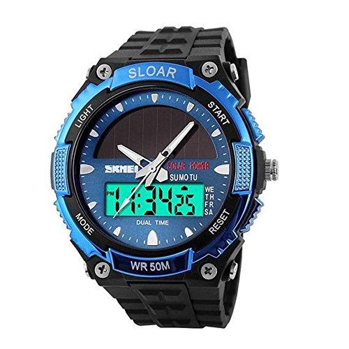 1049 Skmei del ejército de solar LED reloj fecha semanas Dual movt 5ATM military resistente al agua reloj de deporte (azul)