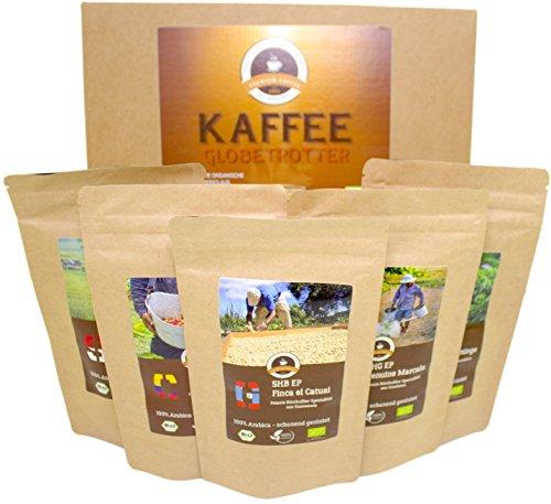 Kaffee Globetrotter - Bio-Box 5 Mal 100g Gourmet Bio-Kaffee - Mittel Gemahlen - für Kaffee-Filtermaschine, Handfilter - Kaffee Weltreise als Geschenk für Weihnachten, Geburtstag, Probierset