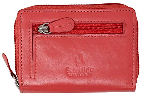 STARHIDE Womens RFID Blocking Small Leather Fan Concertina Palm Credit Card Holder 1234 (Pink)