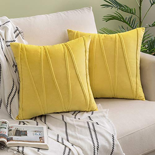Woaboy Pack of 2 Striped Velvet Throw Pillow Covers Modern Decorative Solid Cushion Covers Pillowcases Square Soft Cozy for Bed Sofa Couch Car Living Room 24x24inch 60x60cm Lemon Yellow