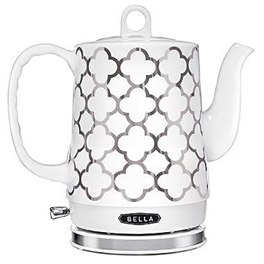 BELLA 1.2 Liter Electric Ceramic Tea Kettle with Detachable Base & Boil Dry Protection, Silver Tile, Electric Tea Kettle with Automatic Shut Off & Detachable Swivel Base (14522)