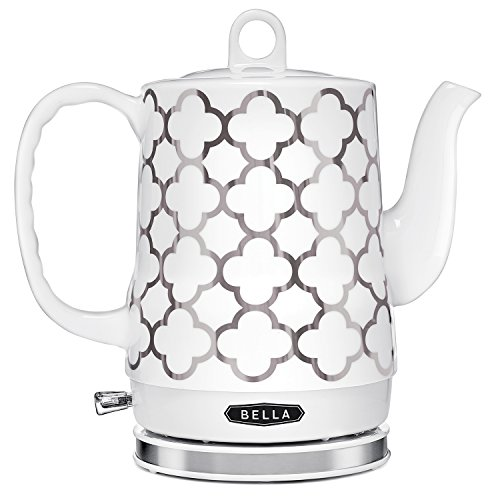 BELLA Electric Ceramic Tea Kettle, Boil Water Quickly and Easily, Detachable Swivel Base & Boil Dry Protection, Carefree Auto Shut Off, 1.2 L, Silver Tile Pattern
