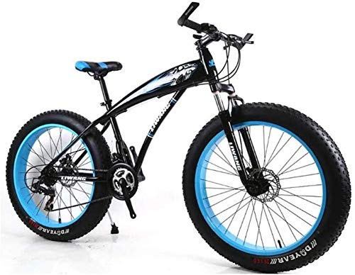 Wyyggnb Mountain Bike, Folding Bike Mens Mountain Bike 7/21/24/27 Speeds, 26 Inch Fat Tire Road Bicycle Snow Bike Pedals with Disc Brakes and Suspension Fork (Color : D, Size : 7 Speed)